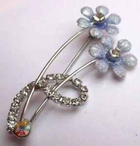 MéThodique Broche Couleur Argent Bijou Rétro Fleur Bleu Cristal Diamant Scintillante 2313