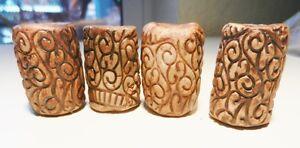 1 1/4 Porcelain Beads~Handmade~Intaglio Impressed Scrolly Patterns~Set of 4~VTG