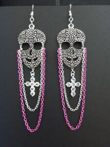 WOMENS-HANDMADE-SILVER-SUGAR-SKULL-CHANDELIER-EARRINGS-PINK-CHAIN-DIAMANTE-CROSS