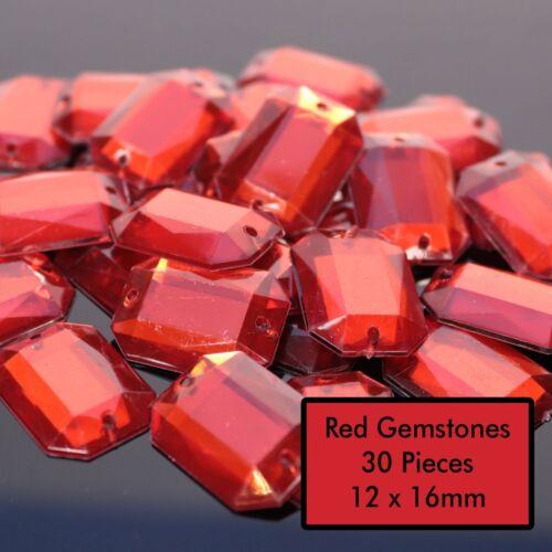 40//30 Sew On Rhinestones Gems Various Colours Diamantes Rectangular Bead Crafts