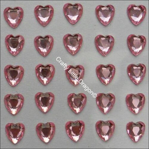 96 x 8mm PALE PINK Heart Rhinestone Diamante Stick On Adhesive GEMS Diamonte