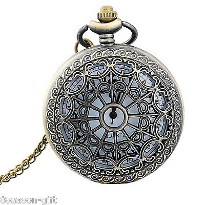 New Bronze Tone Necklace Watch Pocket Watch Battery Hollow