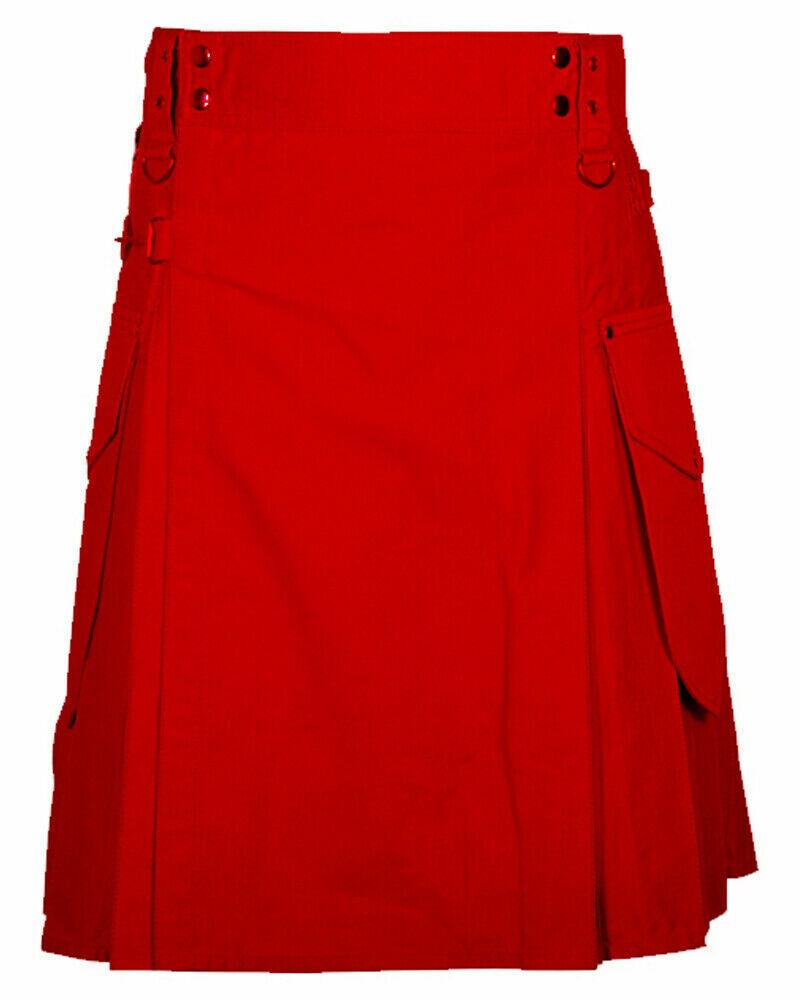 New Great Scottish Utility Kilt Red For Men