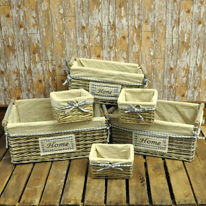 Image Is Loading Set Of 6 Willow Wicker Storage Baskets Natural