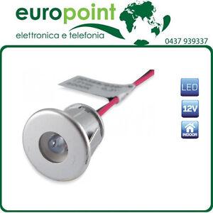 LED-da-incasso-argento-luce-BLU-freddo-segnapasso-12V-Vdc-foro-da-13mm-TUNING