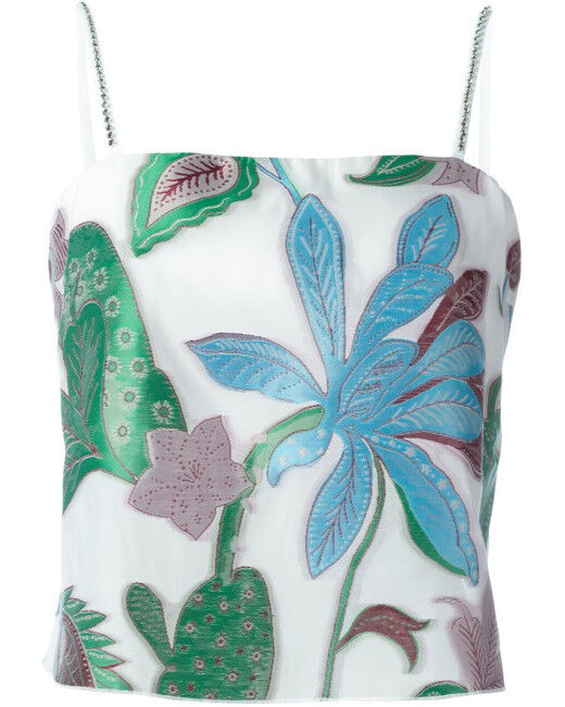 New TORY BURCH WISTERIA Embroiderot organza Jacquard CRYSTALS TANK Top 2 6