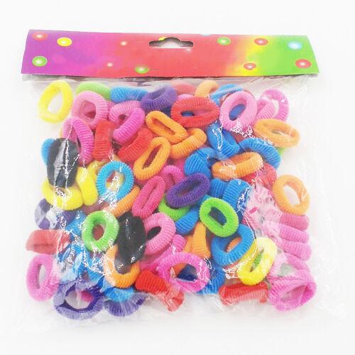 100x Haargummis Gummiband Seil für Baby Mädchen Mode Pferdeschwanz Inhaber