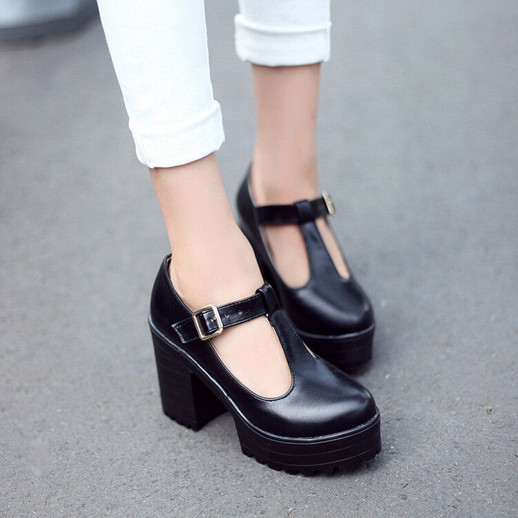 Womens Gothic Chunky Heels High Shoes Platform Mary Jane Ankle T-Strap Punk Shoes High Plus eb0e12