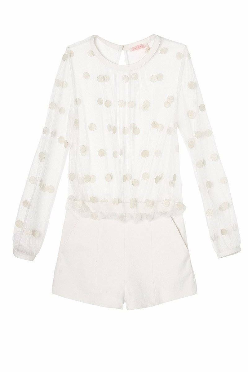 New SASS & BIDE    The Ornament   Sheer Tulle Playsuit  - White - Size 10 -  550