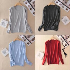 Women-039-s-Slim-Cashmere-Soft-Neck-Crew-elasticity-Pullover-Sweater-Jumper-Knitted