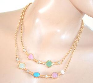 COLLANA-ORO-GIROCOLLO-donna-cristalli-PIETRE-rosa-verde-azzurro-collier-F20