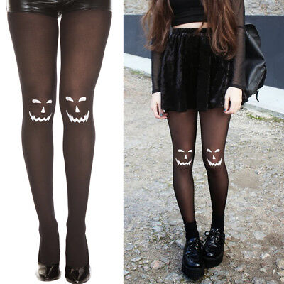 Black//White Spooky JackOLantern Carved Face Pantyhose Halloween Costume Cosplay