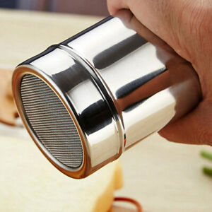 Stainless-Steel-Chocolate-Shaker-Icing-Sugar-Powder-Flour-Coffee-Sifter-New-LF