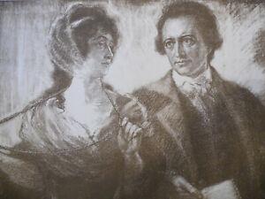 Goethe-und-Frau-von-Stein-Lithografie-um-1905-Karl-Bauer-signiert-Best-Nr-1