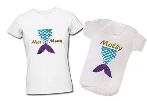 Mother/'s Day Mermum mer mum mermaid personalised t-shirt baby vest 1st glitter