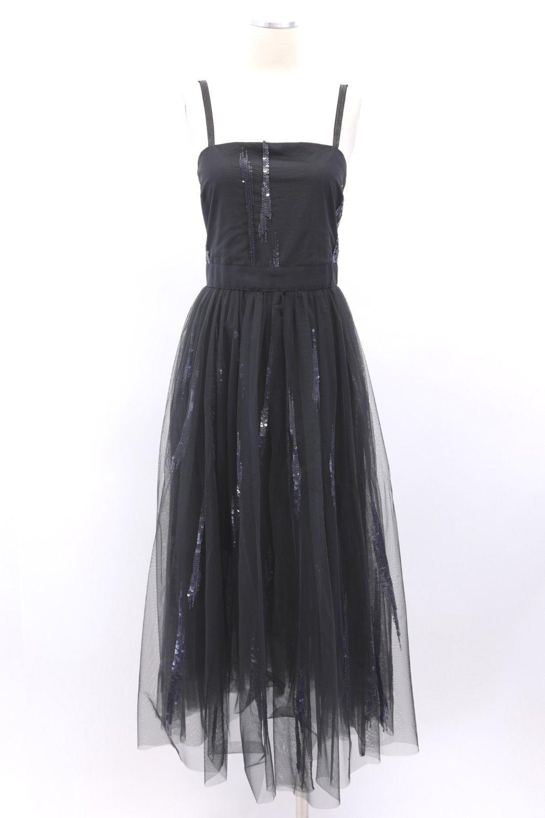NWT 4575 Brunello Cucinelli Sequined Tulle Dress W Monili Beaded Straps SzM A186