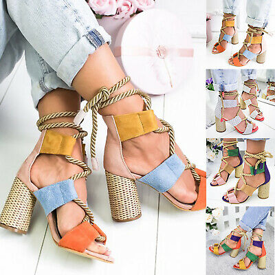 Women Lace Up Sandals Low Mid Block Heel Gladiator Strappy Caged Heels Shoes | eBay