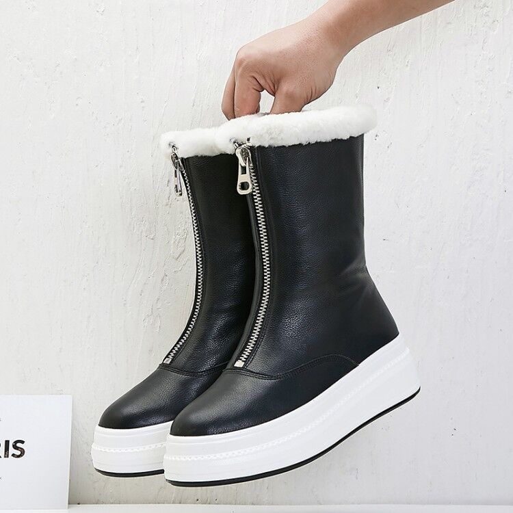 Womens Fashion Winter Fleece Fur Lining Snow Boots Zipper Warm Leather Boots