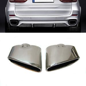 Set-de-2-Cromo-Punta-Del-Escape-Tubo-Silenciador-Acero-Inoxidable-para-BMW-X5
