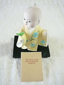 "Hakata 1970's Doll, ""THE BOY AND HIS SPARROW FRIEND"", Japanese Hakata Assoc."
