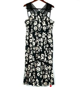 Details About Nwt Tracy Reese Size 18 Midi Dress Lace Combo Black Floral Cut Out Back Sheath