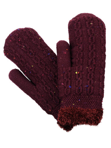 D/&Y Women/'s Winter Warm Knit Inner Lined Stretchy Snug Fit Gloves Mittens New