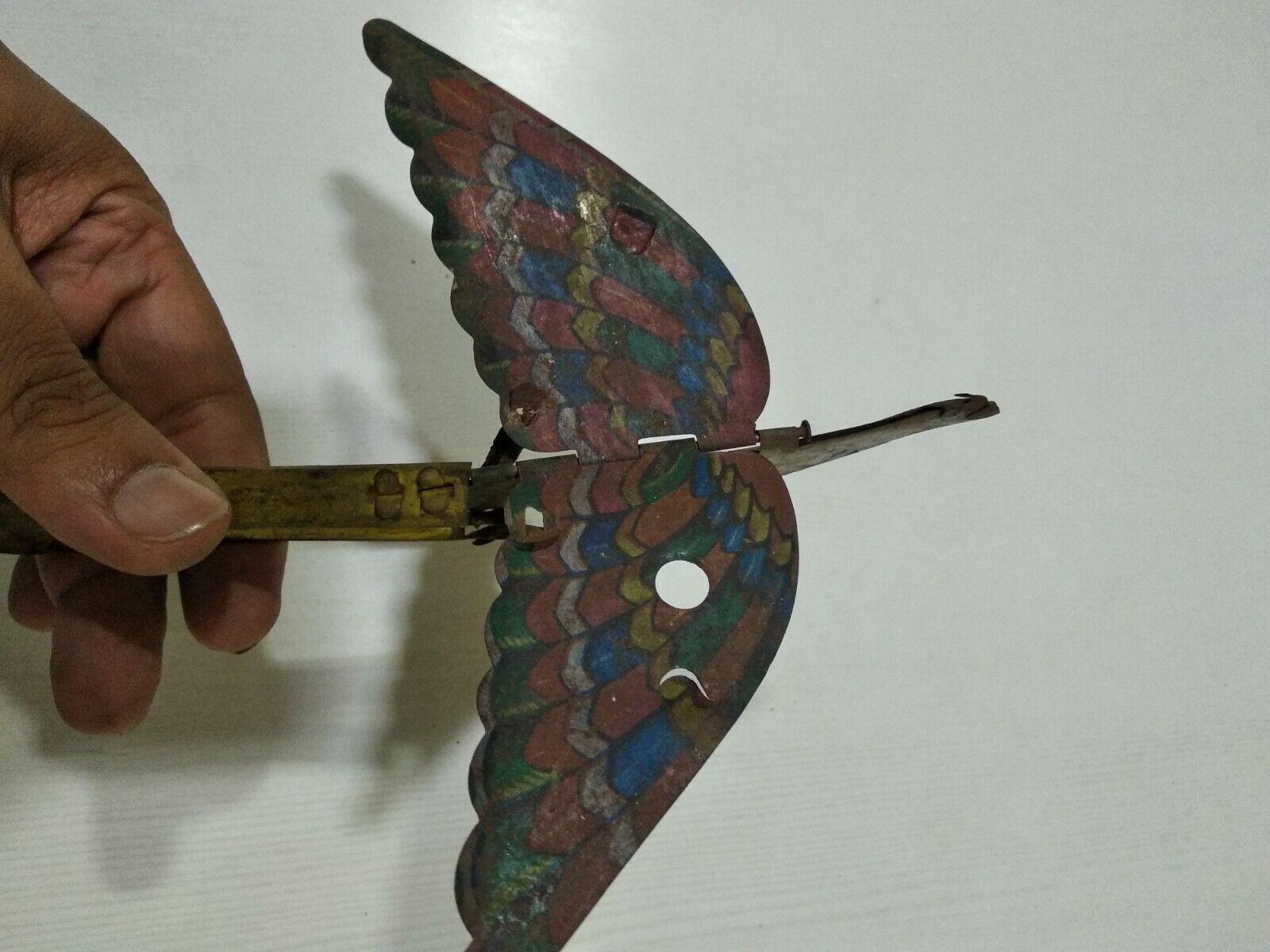 Antiguo Vintage Tin Juguete RARE OLD India Pájaro Squeeze alas Solapa
