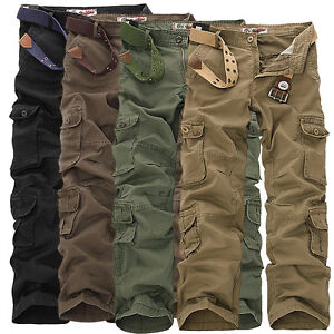 Men-039-s-Loose-Straight-Cargo-Casual-Pants-Military-Trousers-Pockets-Overalls