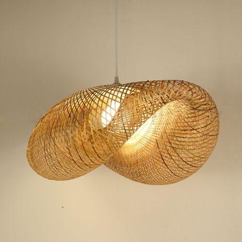 Bamboo Wicker Rattan Shade Pendant Light Fixture Asian Hanging Ceiling Lamp New