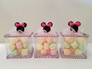 12 Minnie Mouse Fillable Blocks Baby Shower Favors Prizes Game Girl
