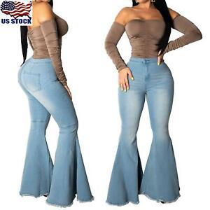 Womens-Jeans-Stretch-Flare-Pants-Ladies-High-Waist-Denim-Bell-Bottom-Trousers-US
