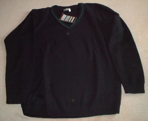 Zeco School Jumper Black with Green Trim Size XL
