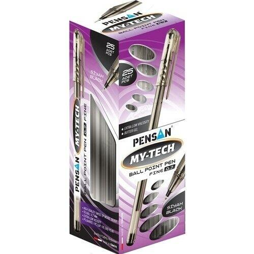 25pc Black 0.7mm Office School Ballpoint PENSAN My-Tech Ballpoint Pen