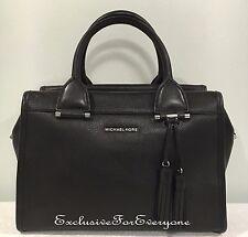 NWT Michael Kors Geneva Large Satchel Leather Black Handbag $378