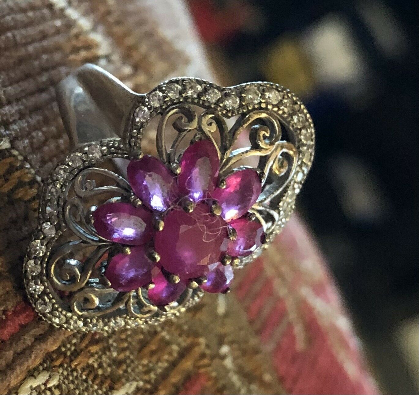 Sterling Silver Ruby Floral Flower Ring - image 9