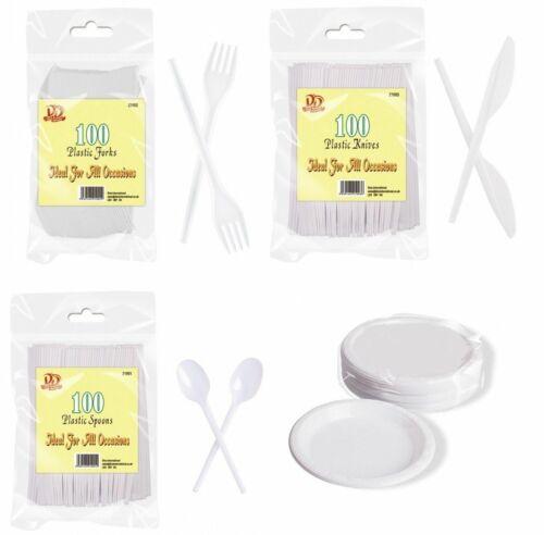 BLANC solide en plastique jetables 100 couverts fourchette couteau cuillère plaques Fête BBQ