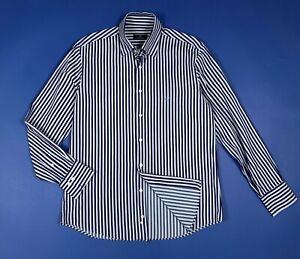 Caporiccio-shirt-camicia-uomo-usato-used-L-41-16-a-righe-blu-manica-lunga-T6093