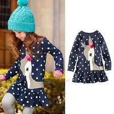 Toddler Baby Kids Girls Autumn Clothes Long Sleeve Party Deer Tops T-Shirt Dress