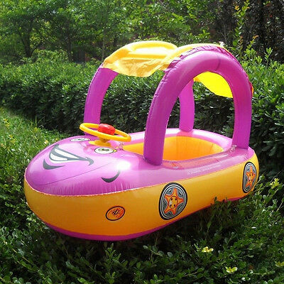 Cool Inflatable Baby Tube Ring Car Type Sun shade Swimming Pool Float Seat Boat