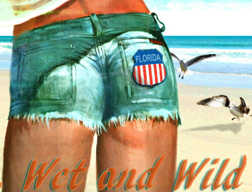 Venice Florida Beach Poster Pin Up Jeans Shorts Hot Girl Art Print 267