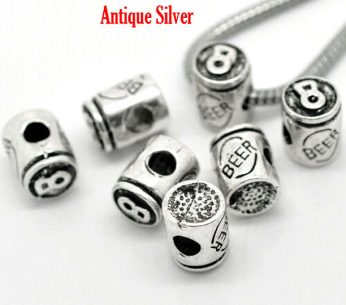 Beer Can Charm Large Hole Bead for European Charm Bracelet FREE SHIP on $35+