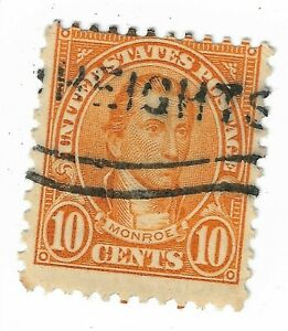 1923-31-Monroe-10-Cent-HEIGHTS-CANCEL-Postage-Stamp-US-642-Perf-11x10-5-XF-NH-NG