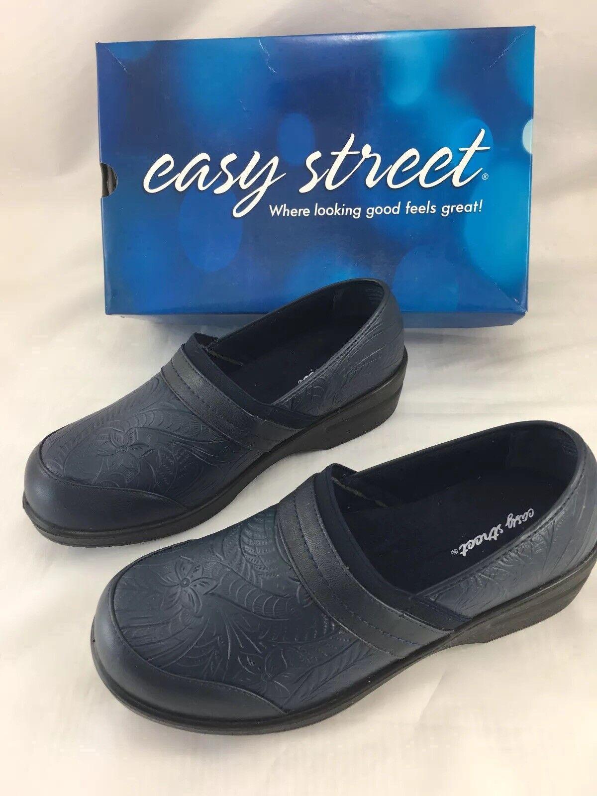 Easy Street Flex Origin Mule Clogs Donna Taglia 10 M Navy Blue Stretch Floral NEW