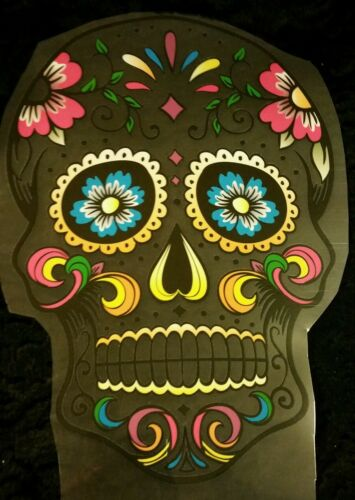 """SUGAR SKULL IRON-ON TRANSFER HUGE 10/"""" by 7.5/"""" COLORFUL CLEAR BACKING RETRO GOTH"""