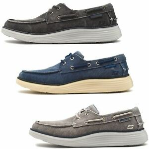 5fa6bc67 Skechers Status 2.0 Lorano Boat Deck Shoes in Black, Grey & Navy ...