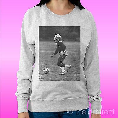 """Coraggioso Felpa Donna Leggera Sweater Grigio Chiaro """" Bob Marley Soccer """"road To Happiness I Clienti Prima Di Tutto"""