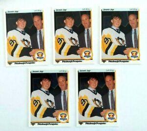 Jaromir-Jagr-1990-91-Upper-Deck-RC-Lot-of-Five-5-Rookies-Pittsburgh-Penguins