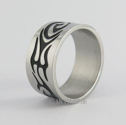 Edelstahlring - Ornamente Ring Edelstahl Damenring Herrenring Designerring  YumO