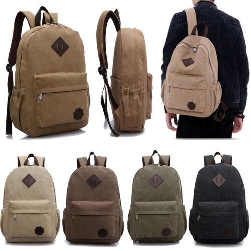 Men Canvas Schoolbag Shoulder Bag Backpack Laptop Plain Rucksack Satchel Bookbag