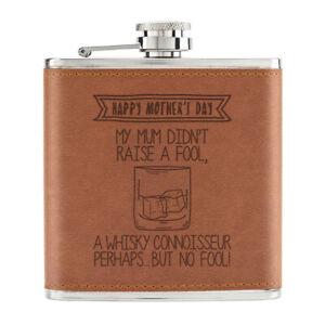 Happy-Fete-des-Meres-Whisky-Connaisseur-170ml-Cuir-PU-Hip-Flasque-Brun-Mum-Drunk